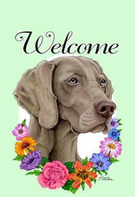 Large Indoor/Outdoor Welcome Flag (Flowers) - Weimaraner 63057