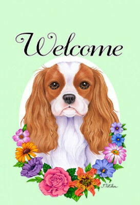 Large Indoor/Outdoor Welcome Flag (Flowers) - Cavalier King Charles 63055