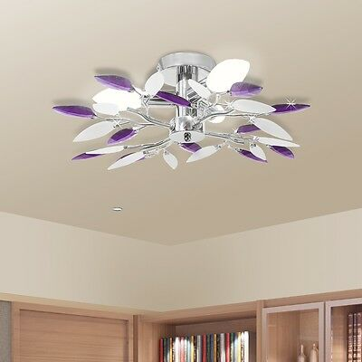 #S New Ceiling Lamp Ceiling Light Fixture Leaf Arms Home Lighting White / Purple