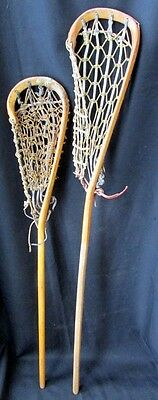 Pair 2 Vtg Indian Mohawk Lacrosse Stick Wood Rawhide Webbing Used Condition Old