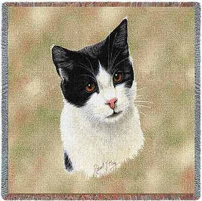 Lap Square Blanket - Black & White Cat by Robert May 1958