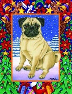 Large Indoor/Outdoor Christmas Flag - Pug (TP) 68022