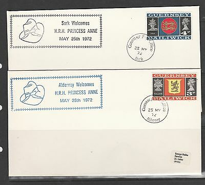 Alderney & Sark, 2 1972 covers for visit of HRH Princess Anne, cancelled Sark &