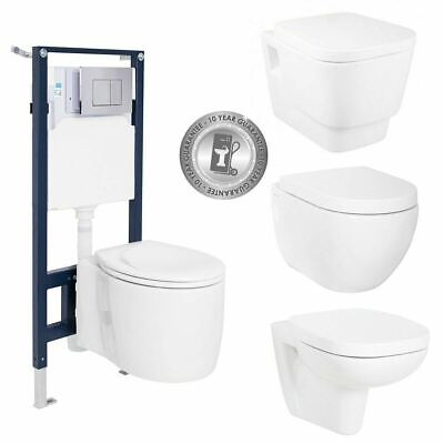 Wall Hung Mounted Steel Toilet Frame + WC Pan + Concealed Cistern + Flush Plate