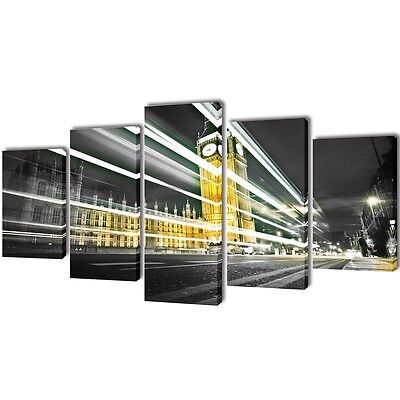 New Set of 5 Panel Canvas Wall Art Print Painting Picture Set Big Ben 100x50cm