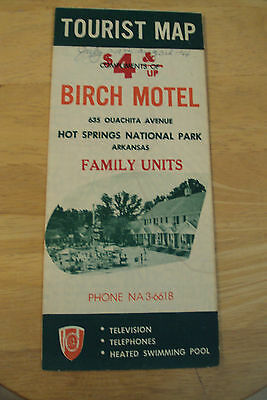 "Vtg 1966 Travel Brochure~""HOT SPRINGS NATIONAL PARK""~Birch Motel~Arkansas~"