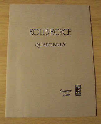 1922 Flyer/Periodical ROLLS-ROYCE Quarterly~USA~Yosemite~1971 REPRINT~Ephemera~