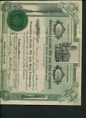 Galesburg Crude Oil And Gas Company Stock Certificate 1911 South Dakota