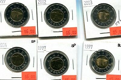 Canada $2 Polar Bear Coin Lot Of 6 Bu Sp 5936G