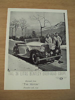 "1935 ""The Motor"" Magazine 1969 REPRINT~3 1/2 Litre BENTLEY Drop-Head COUPE~"