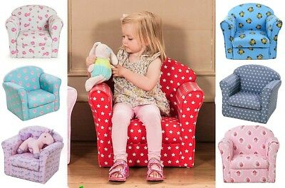Kids Children's Tub Chair Armchair Sofa Seat Fabric Upholstered Pink Blue Red