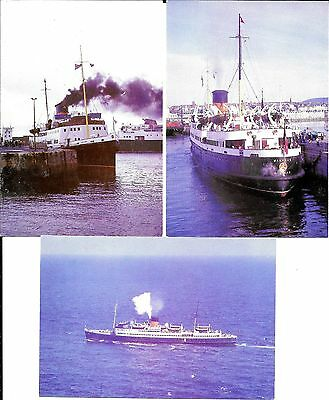 Isle of Man Steam Packet Postcards x 3 TS Manxman