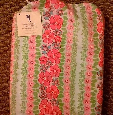 NEW Pottery Barn Kids Pink HIBISCUS Twin SHEETS floral