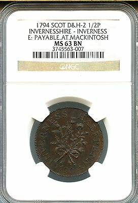 """1794 ~ 1/2 Penny ~ Inverness Conder Token ~ """"rose Thistle"""" ~ Ngc Ms63 Bn"""