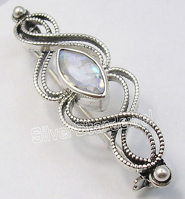 925 Sterling Silver MARQUISE RAINBOW MOONSTONE DESIGNER BROACH BROOCH ARTISAN