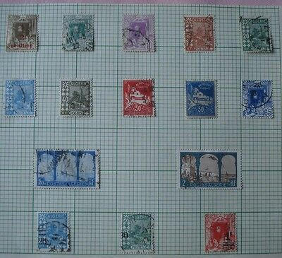 Album page of vintage Postes Algeria stamps, some with overprints (1926-7)