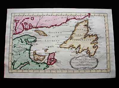 1754 BELLIN - Original map of NORTH AMERICA, CANADA, NEWFOUNDLAND & LABRADOR
