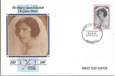 One Penny Arcade A Nice Lesotho 1990 Queen Mother FDC