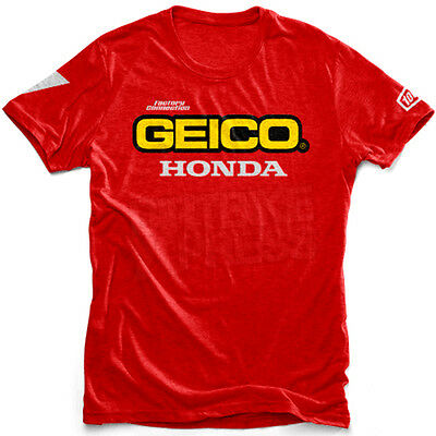"""New 100% Geico Honda Motocross Casual Standard T-Shirt Red Xlarge 46"""" Chest"""