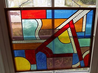 Handmade Abstract Stained Glass Wood Framed Window 17 X 21 Inches