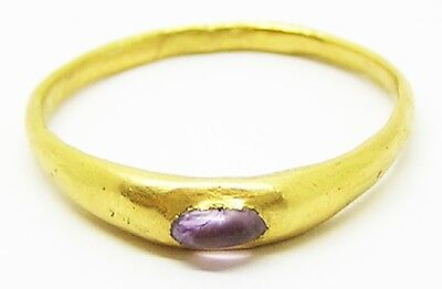 Rare Medieval Gold & Amethyst Episcopal Stirrup Ring c. 12th - 13th century A.D.