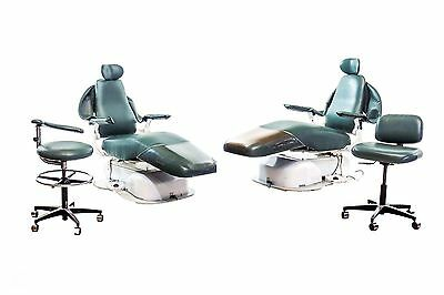 Lot of 2 LSM HC01 Dental Operatory Exam Chairs w/ Doctor & Assistant Stools