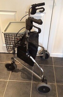 Invacare 3 Wheel Rollator Frame With Bag, Basket And Tray