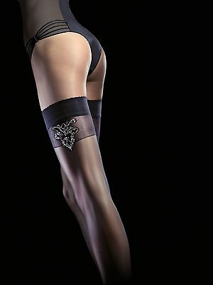 Electra By Fiore Range Black 20 Denier Sheer Hold Up Stay Ups Stockings