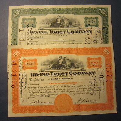 2 Old 1929-1935 - IRVING TRUST Company - Stock Certificates - New York