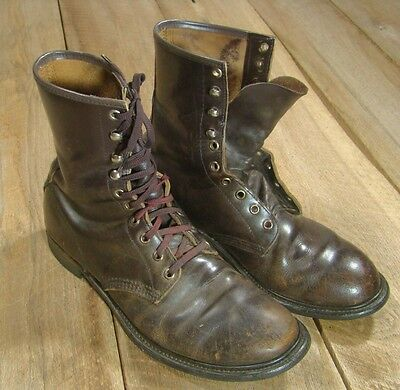 VTG World War II Korean Leather Jump Boots-9.5D-Paratrooper-10Eye-Dupont Armour