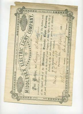 Middlesex Electric Light Company Stock 1883 Maine