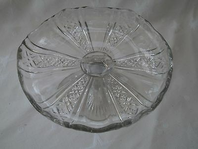 VINTAGE Clear pressed glass SMALL PEDESTAL CAKE PLATE VGC