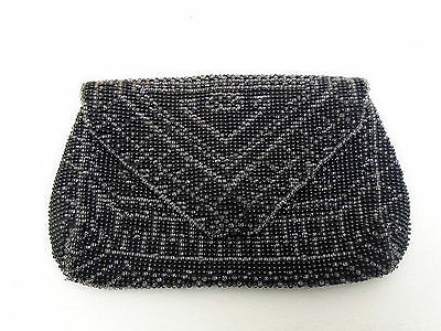 Antique Vintage Beaded Handbag Purse Small Finger Hand Clutch Black Beads