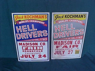 Two Vintage Madison County Fair Brookfield Jack Kochman's Hell Drivers Posters
