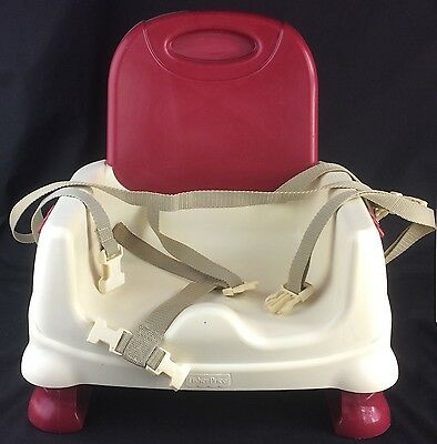 Fisher-Price Portable Baby Booster Seat High Chair Toddler Red White B7275 Used