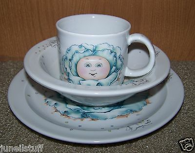 1984 3 Piece Cabbage Patch Child's Plate Bowl Mug Set by Royal Worcester