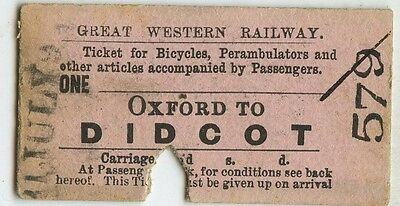 Railway Ticket; GWR.  Oxford to Didcot