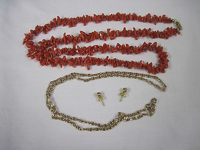 Assorted Jewelry-Beaded Necklace-Gold Toned Chain-Gold Toned Pierced Earrings.nt