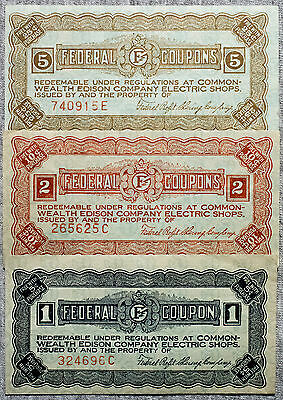 Set of 3 diff. Federal Coupons 1940's USA Edison Electric Shops  used- pinholes