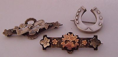 3 Antique Sterling Silver Sweetheart Brooches - Horseshoe & Rose Gold