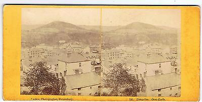 Stereoview - Llangollen , Crow Castle North Wales By Laing Shrewsbury