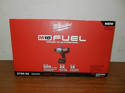 """Milwaukee 2765-22 M18 FUEL 18V 7/16"""" Hex High Torque Impact Wrench w/ Batteries"""