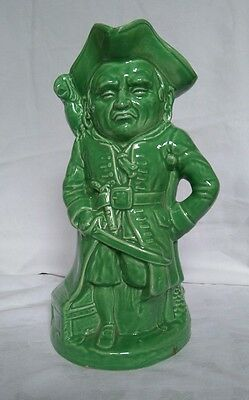 "Vintage Burlington Ware Large 10"" Green Pirate Jug Marked on Base 1 Small Chip"