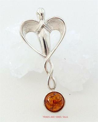 Guardian Angel Pendant Sterling Silver Amber Crystal Gem spiritual Jewellery NEW