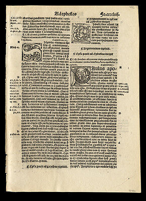 New Testament 1519 Bible Leaf St Paul to Ephesians 1-3 & 5 Historiated Letters