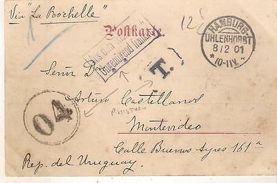 d40 France GRUSS AUS HAMBURG card to Uruguay in 1901 TAXE Marks