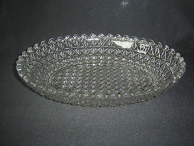 Vintage Oval Pressed Glass Bowl With Scalloped Rim