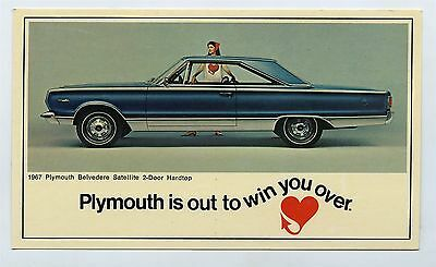 1967 Plymouth Belvedere Satellite Hardtop ORIGINAL Factory Postcard ft1939
