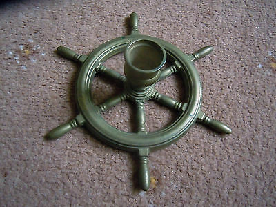 Solid Brass Nautical Ships Wheel Candle Stick Holder