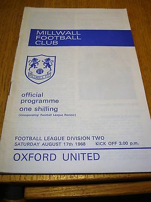 Millwall V Oxford .august 1968.official Programme